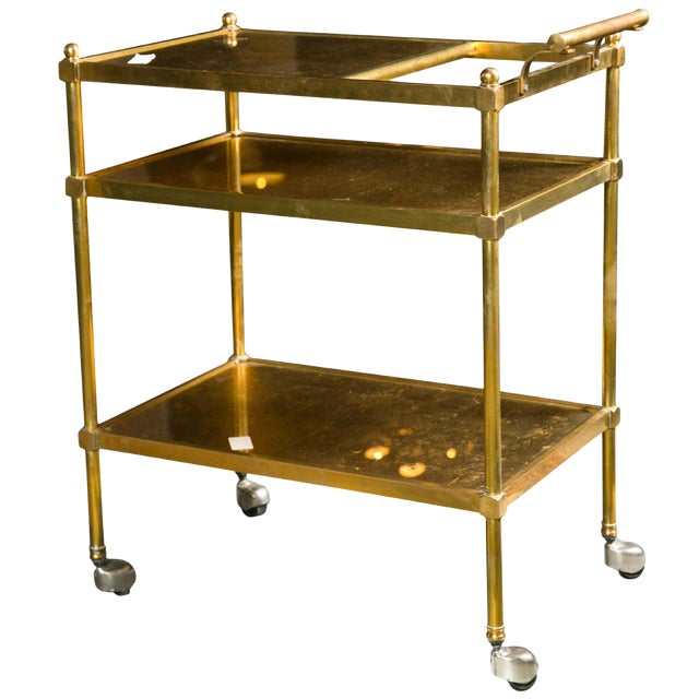 French Art Deco Gilt Brass Tea Cart For Sale