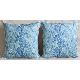 """Blue/White Marbleized Swirl Feather/Down Pillows 24"""" Square - Pair Preview"""
