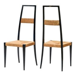 Italian Ebonized High Back Side Chairs - A Pair