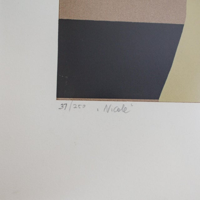 Nude Color Block Linocut Print by Georg Rauch Titled Nicole 1960s - 1970s For Sale - Image 10 of 12