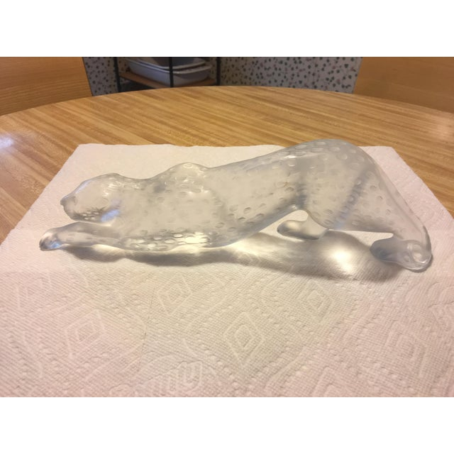 Transparent 1970s Contemporary Lalique Crystal Panther Sculpture For Sale - Image 8 of 8