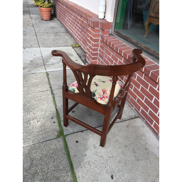 Georgian Style Needlepoint Upholstery Mahogany Corner Chair - Image 7 of 9