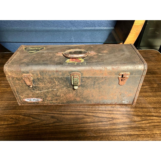 Vintage Car-Racing Crew Rusted Metal Patina Tool Box For Sale - Image 11 of 11