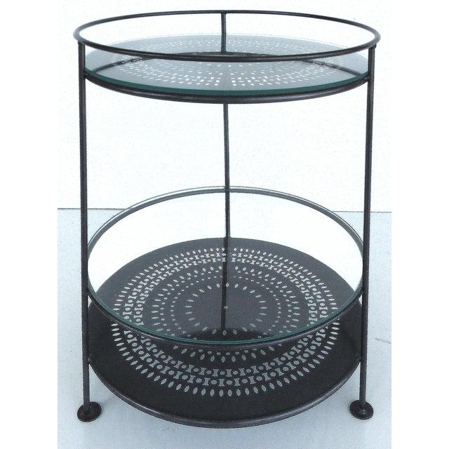 French Enameled Iron Bi-Level Bar Side Table - Image 2 of 6