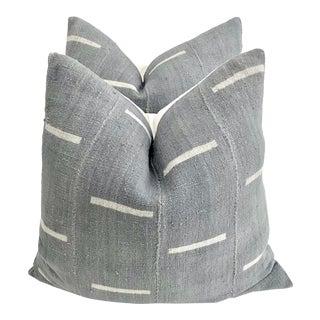 Gray Mali Mud Cloth Pillows - A Pair For Sale