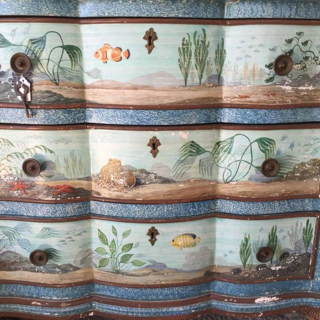 Wood Hand-Painted Aquatic Turtle-Footed Chest Dresser For Sale - Image 7 of 8