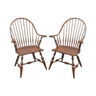 Custom Quality Pair of Solid Cherry Windsor Armchairs