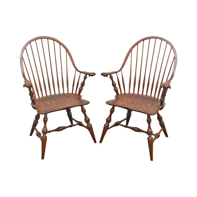 Custom Quality Pair of Solid Cherry Windsor Armchairs For Sale