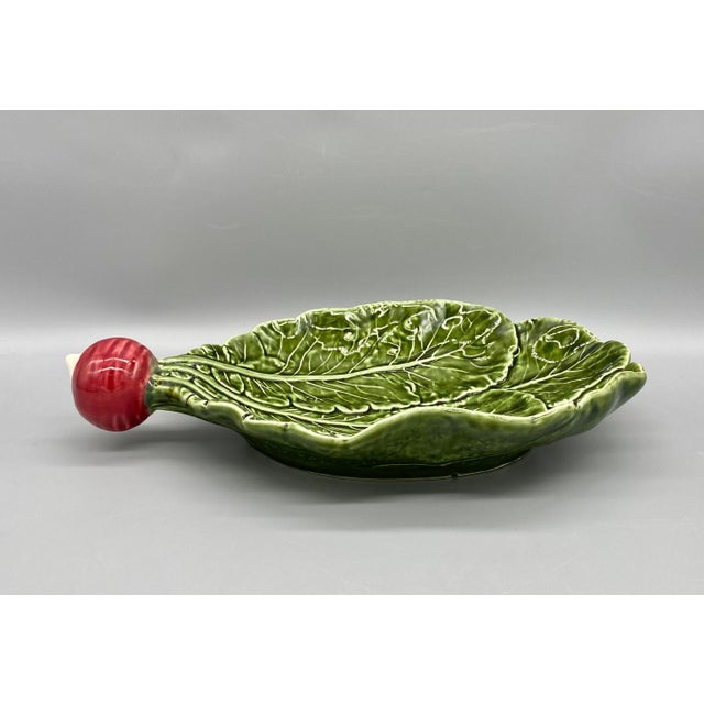 French Country 20th Century Majolica Radish Vegetable Platter/Dish For Sale - Image 3 of 10