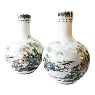 """Stunning Chinese Porcelain LG onion shape Vases 22"""" H"""