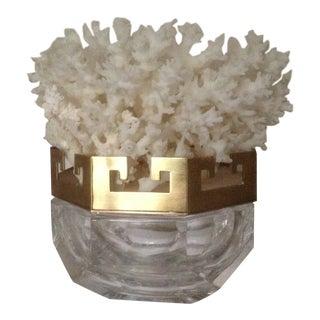 Vintage Crystal & Brass Greek Key Coral Top Box For Sale