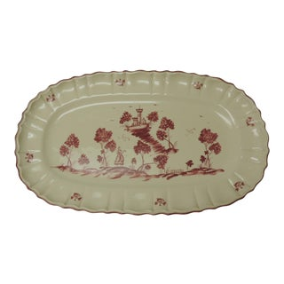 Vintage Pierre Deux French Country Oval Toile Scene Pink Serving Platter For Sale