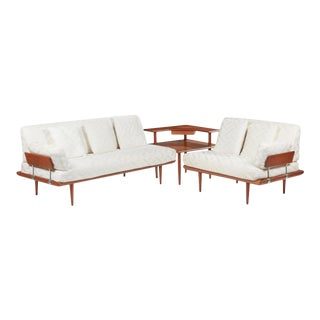Mid Century Frank and Son Danish Teak Sofa Sectional For Sale
