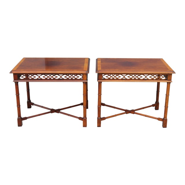 1970's Traditional Carved Wood Side Tables - A Pair - Image 1 of 11