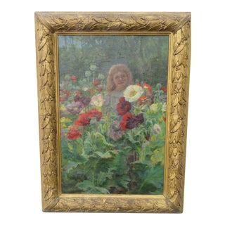 Flower Garden Girl Early 1800s Framed Signed Oil Painting Art Work For Sale