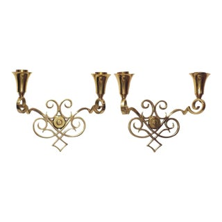 Scrolling Brass Wall Sconces - A Pair For Sale