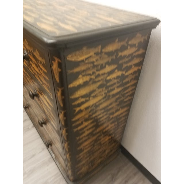 Antique English Fish Decoupage Chest of Drawers For Sale - Image 10 of 13