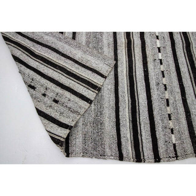 1960s 1960s Vintage Gray & Black Striped Kilim Rug- 5′9″ × 9′4″ For Sale - Image 5 of 7