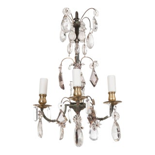 Petite French 19th Century Four-Light Crystal Chandelier For Sale
