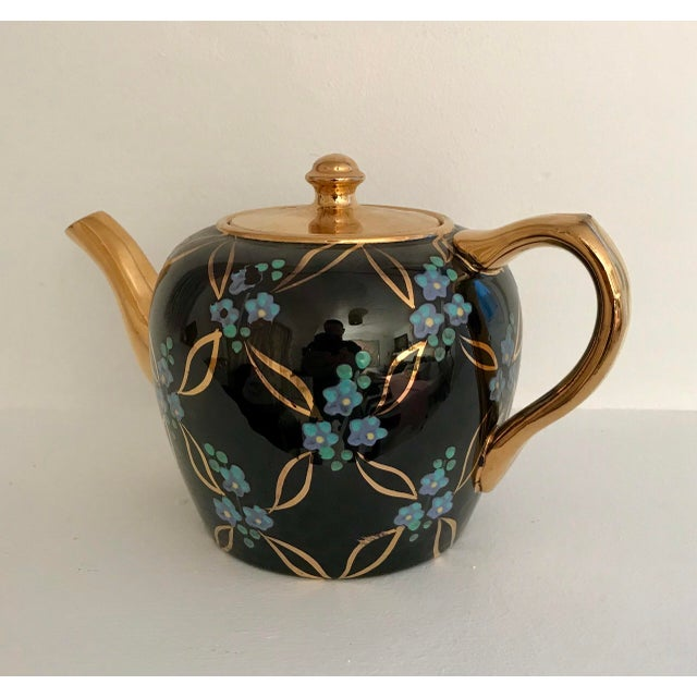 Vintage English Black and Gold Tea Pot For Sale - Image 4 of 6