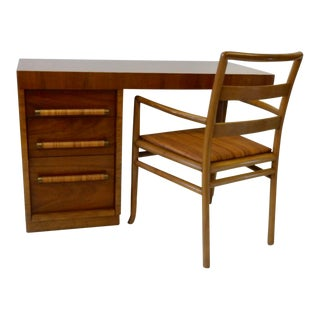 Robsjohn Gibbings for Widdicomb Raffia Cane Pull Desk With Matching Chair For Sale