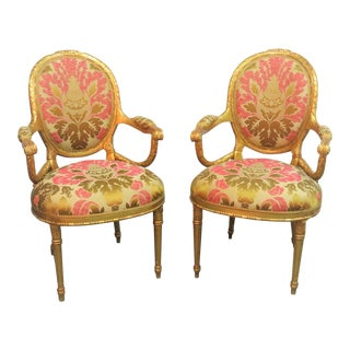 Lewis Mittman Giltwood Carved Fauteuils - a Pair For Sale
