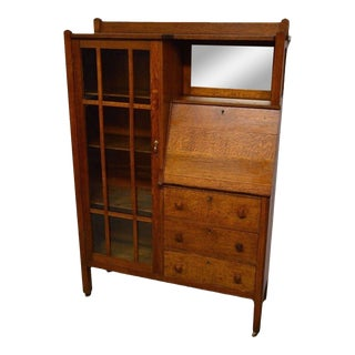 Antique Mission Arts and Crafts Solid Oak Secretary with Bookcase