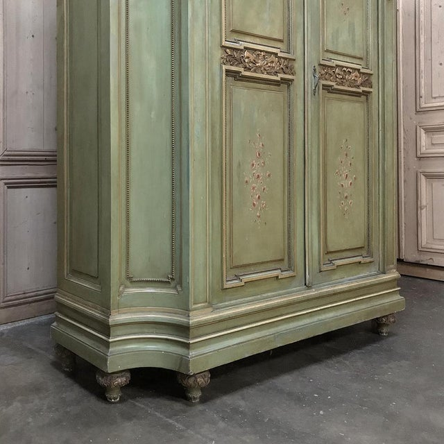 Antique Italian Neoclassical Painted Armoire For Sale - Image 9 of 13