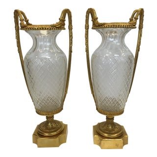 Pair of 19th Century Style Louis XVI Ormolu & Crystal Baccarat Vases For Sale