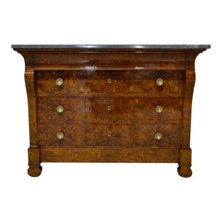 Restauration Period Burl Elm 4 Drawer Commode For Sale