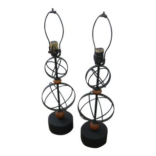 Vintage Weinberg Style Atomic Table Lamps - A Pair For Sale
