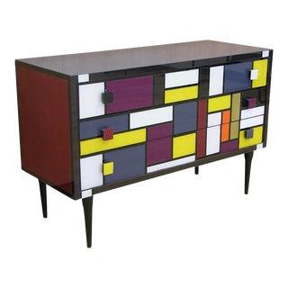 Bespoke Italian Mondrian Style Geometric Multicolor Glass Credenza For Sale