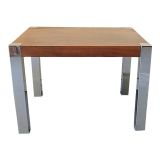 Vintage Modern Lane Chrome and Walnut End Table For Sale