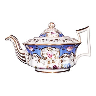 Antique 1825 Hand Painted Sky Blue Roses Porcelain Coalport Teapot