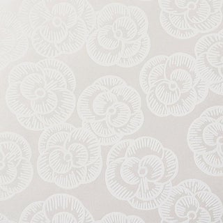 Schumacher Vogue Living Mona Pattern Floral Wallpaper in Whitework - 2-Roll Set (11 Yards) For Sale
