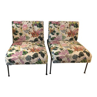 Christian LaCroix Fabric Upholstered Slipper Chairs - a Pair For Sale