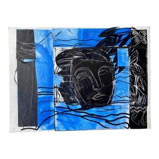 """Summer Lagoon Swim #1"" Original Collage Artwork For Sale"