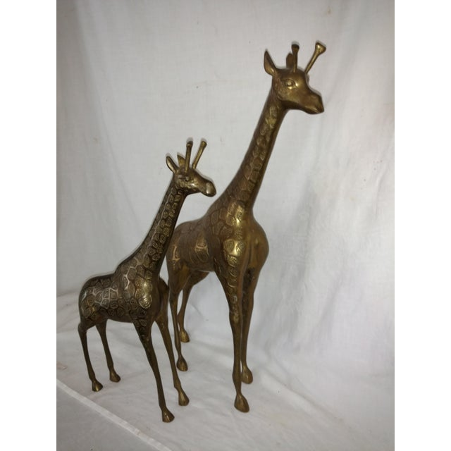 Brass 22 Inch 1960's Mid Century Brass Giraffe and Baby - a Pair For Sale - Image 7 of 10