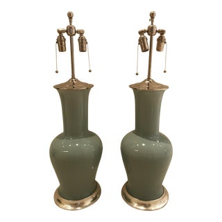 Spitzmiller 'Garniture' Aqua Blue Table Lamps - a Pair