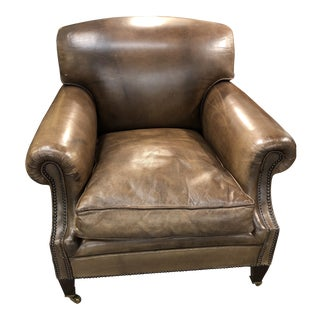 Pair Leather Club Chairs For Sale