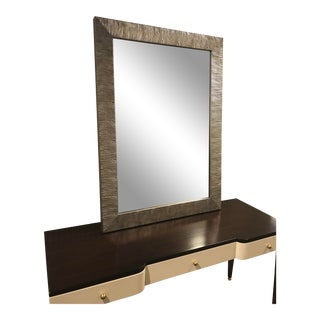 Transitional Silver Wood Magnolia Mirror For Sale