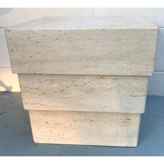 White 1970s Mid-Century Modern Stacked Travertine Occasional Table For Sale - Image 8 of 8