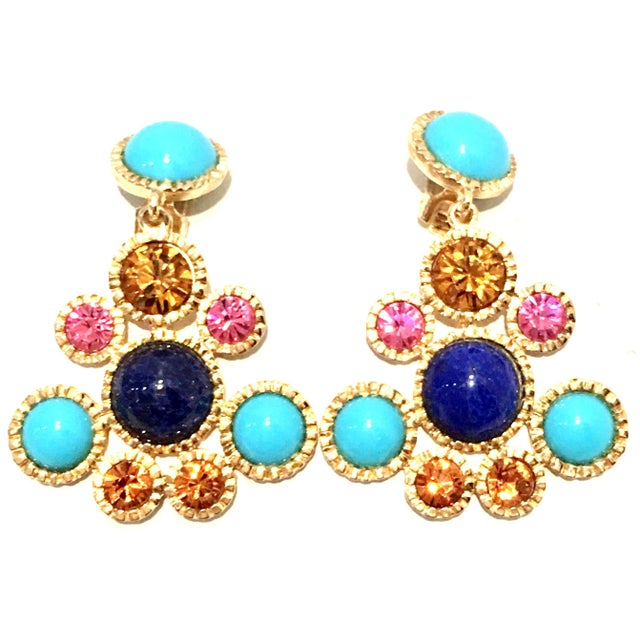 20th Century Gold Plate, Swarovski Crystal & Glass Lapis and Turquoise Chandelier Drop Earrings By, Kenneth Jay Lane....