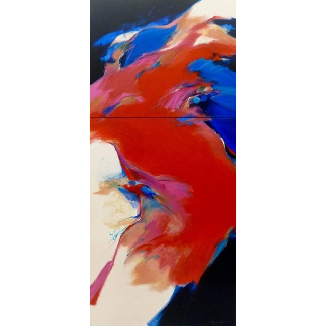 """Abstract Expressionism """"Red Wind"""" Acrylic on Canvas Diptych Painting by Mary Jane Schmidt For Sale - Image 3 of 4"""