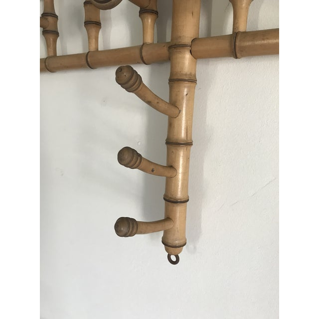 Faux Bamboo Wall Mounted Peg Coat Hat Rack - Image 5 of 9