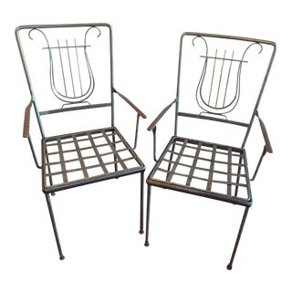 Lyre Back Iron & Brass Patio Chairs, Indoor/Outdoor - a Pair