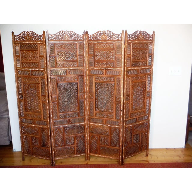 Asian Carved & Inlayed Rosewood Screen For Sale - Image 3 of 11