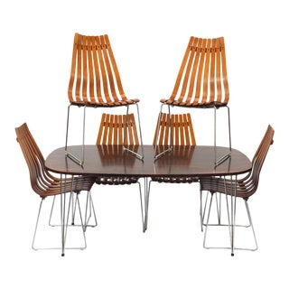 Hans Brattrud Rosewood Dining Table & Six Scandia Chairs, Hove Mobler circa 1965 For Sale