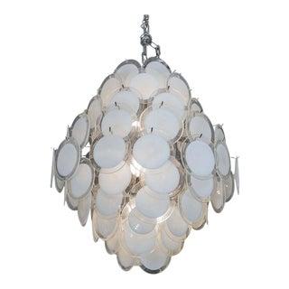 Custom White Murano Disc Chandelier