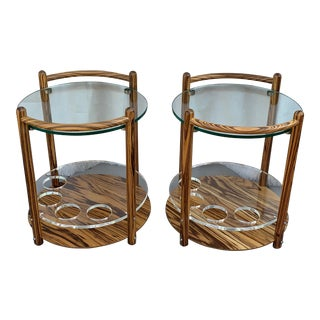 1980's Vintage Zebra Wood and Lucite, Glass Top Drink Tables - a Pair For Sale